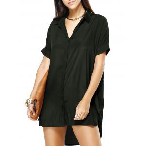 High Low Loose Pure Color Boyfriend Shirt Dress - Army Green - S