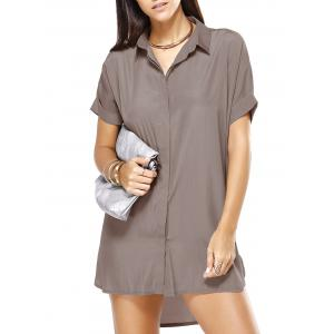 High Low Loose Pure Color Boyfriend Shirt Dress