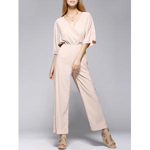 Fashionable Pure Color Half Sleeve Jumpsuit For Women