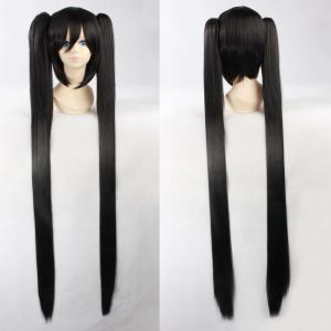 Fashion Synthetic Straight Long with Bunches Black Rock Miku Cosplay Wig - Black