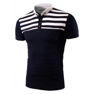 Casual Stripe Spliced Turn-Down Collar Short Sleeve T-Shirt For Men