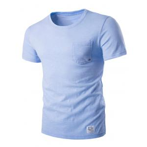 Breast Pocket Metal Star Embellished Round Neck Short Sleeve T-Shirt For Men - Light Blue - M