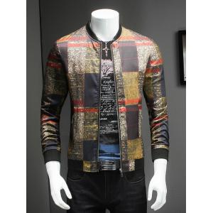 Stand Collar Long Sleeve Tartan Jacket