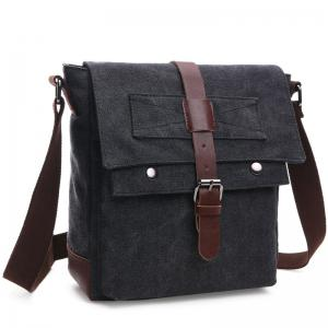 Concise Color Block and Buckle Design Messenger Bag For Men - Black - 40