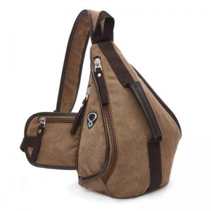Casual Zippers and Color Splicing Design Messenger Bag For Men - Coffee