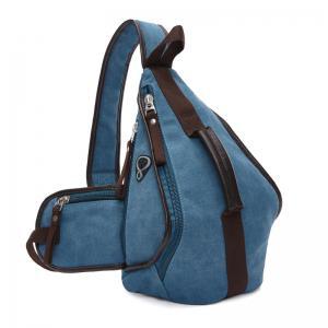 Casual Zippers and Color Splicing Design Messenger Bag For Men - Azure