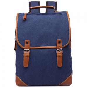 Stylish Color Block and Double Buckle Design Backpack For Men - Deep Blue - 40