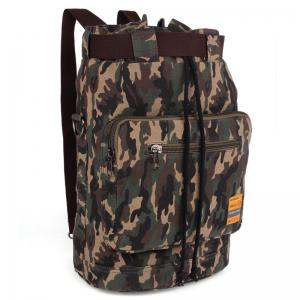 Casual Canvas and Camouflage Pattern Design Backpack For Men - Army Green Camouflage