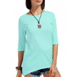 Stylish Round Neck 3/4 Sleeve High Low Women's T-Shirt