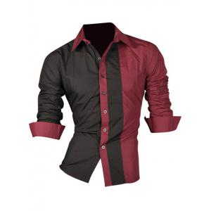 Color Block Splicing Design Turn-Down Collar Long Sleeve Shirt For Men - Wine Red - Xl