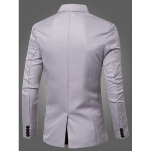 Casual Lapel Collar Double Breasted Flap-Pocket Design Blazer For Men - GRAY 2XL