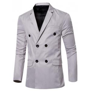 Casual Lapel Collar Double Breasted Flap-Pocket Design Blazer For Men - Gray - M