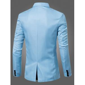 Casual Lapel Collar Double Breasted Flap-Pocket Design Blazer For Men - LIGHT BLUE M