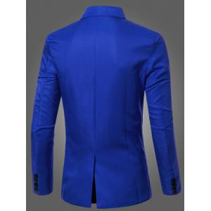 Casual Lapel Collar Double Breasted Flap-Pocket Design Blazer For Men - SAPPHIRE BLUE 3XL