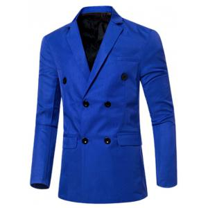 Casual Lapel Collar Double Breasted Flap-Pocket Design Blazer For Men - Sapphire Blue - M