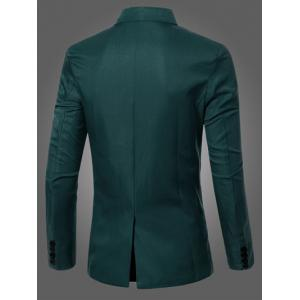 Casual Lapel Collar Double Breasted Flap-Pocket Design Blazer For Men - BLACKISH GREEN M