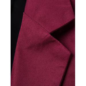 Casual Lapel Collar Double Breasted Flap-Pocket Design Blazer For Men - WINE RED M