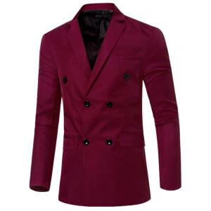 Casual Lapel Collar Double Breasted Flap-Pocket Design Blazer For Men - Wine Red - M