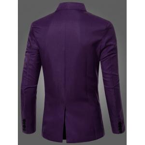Casual Lapel Collar Double Breasted Flap-Pocket Design Blazer For Men - PURPLE M