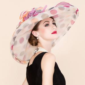 Big Polka Dot Wedding Party Church Big Floppy Sun Hat - WHITE