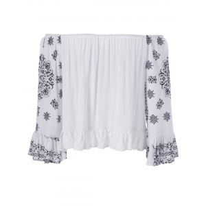 Ethnic Style Tie Neck Print Off The Shoulder Crop Top For Women -