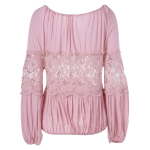 Stylish Tie Neck Lace Panelled Blouse For Women -