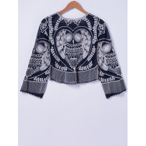Stylish Owl Embroidery Round Neck Blouse For Women -