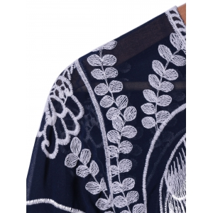 Stylish Owl Embroidery RoundNeck Blouse For Women -