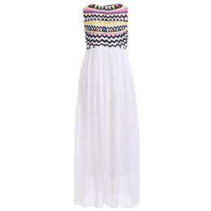 Bohemian Rhinestone Chiffon Casual Summer Maxi Dress - WHITE XL