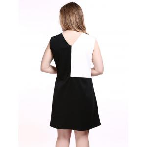 Plus Size Color Block Sleeveless Dress - WHITE/BLACK 5XL