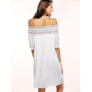 Off The Shoulder Geometric Embroidered Shift Dress -