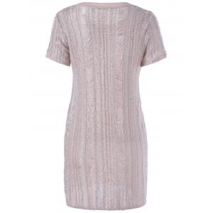 Stylish Round Neck Short Sleeves Knit Dress For Women -