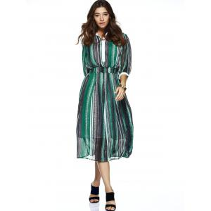 Striped Elastic Waist Chiffon Flowing Dress -