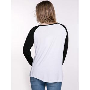 Oversized Casual Raglan Sleeve Color Block T-Shirt - WHITE/BLACK 7XL