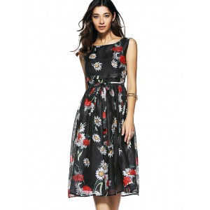 Floral Print Sleeveless Belt-Tie Women's Chiffon Dress -