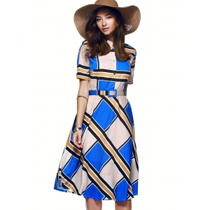 Color Block Tie Belt Buttoned Dress -