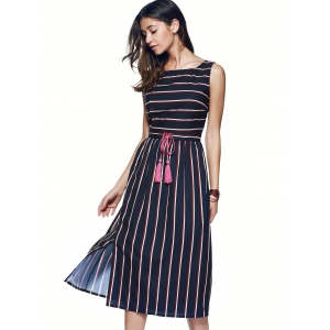 Drawstring Striped Side Button Dress -