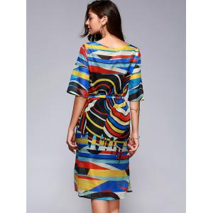 Brief Women's Hit Color Printed Loose Dress -
