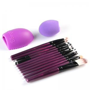 Stylish 12 Pcs Nylon Face Eye Lip Makeup Brushes Set + Beauty Blender + Brush Egg -