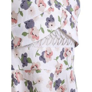 Stylish Floral Print Lace RoundNeck Sleeveless Dress For Women -