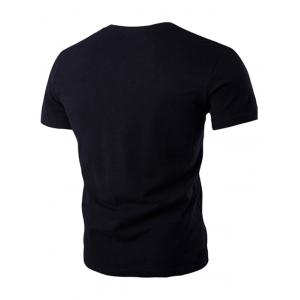 Breast Pocket Metal Star Embellished Round Neck Short Sleeve T-Shirt For Men -