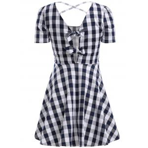 Chic Gingham Cut Out Back Dress For Women -