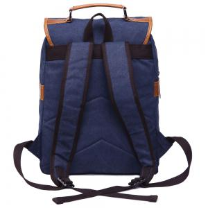 Stylish Color Block and Double Buckle Design Backpack For Men - DEEP BLUE
