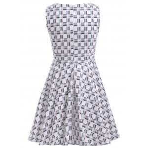 Sleeveless A Line Checked Dress -