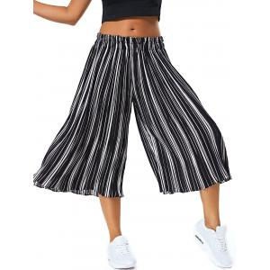 Pinstriped Pleated High Wide Leg Pants -