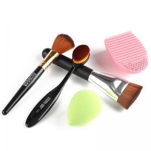 Stylish 5 Pcs/Set Blush Brush + Foundation Brush + Flat Contour Brush + Makeup Sponge + Brush Egg - COLORMIX