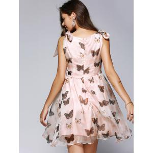 Butterfly Print Bowtie Sleeveless Skater Dress -