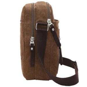 Leisure Zippers and Canvas Design Messenger Bag For Men - BLACK