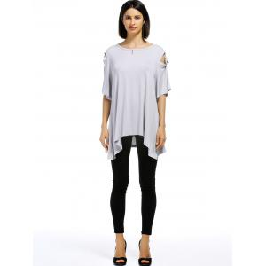 Casual Solid Color Shoulder Cut Out Tied Pullover T-Shirt For Women -