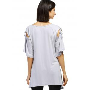 Casual Solid Color Shoulder Cut Out Tied Pullover T-Shirt For Women - LIGHT GRAY XL